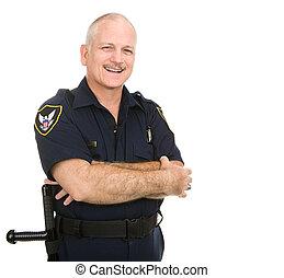 Policja, oficer, -, uśmiecha się
