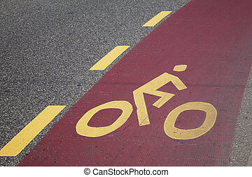 Cycle Lane Symbol on Road