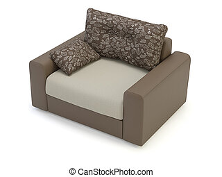 Armchair on white background.  It's 3D image
