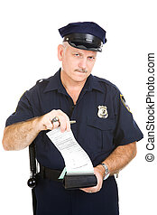 Police Officer Ticket - Police officer tearing a blank...