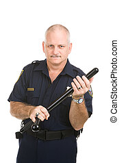 Policeman with Nightstick - Police officer gets ready to use...