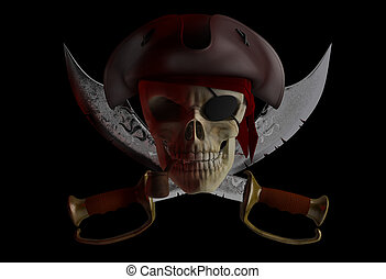 Pirate skull - Skull pirate hat with crossed knives