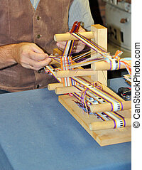 Weaving - Close up of a man weaving on a wooden loom