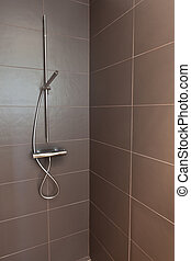 Tiled Bathroom Shower - Tiled bathroom shower with stone...