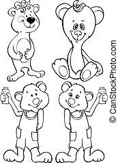 Four outline funny bear