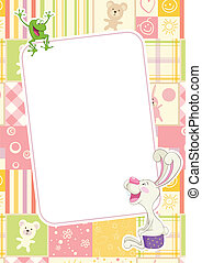 Girls childrens frame with rabbit and frog - Girl frame with...