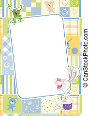 Boys childrens frame with rabbit and frog - Boys frame with...