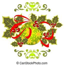 christmas ball - Green Christmas ball with holly berry...