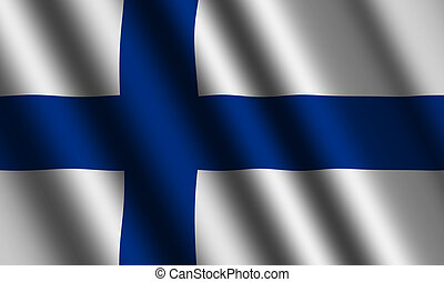 The Finnish flag  flying in the wind.