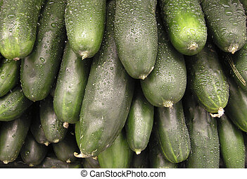 Stack of Wet Cucumbers