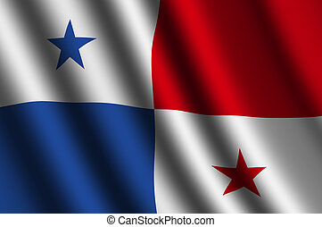 The Panama flag  flying in the wind.