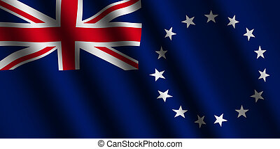 The Cook Islands flag  flying in the wind.