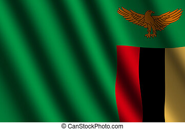 The Zambian flag  flying in the wind.