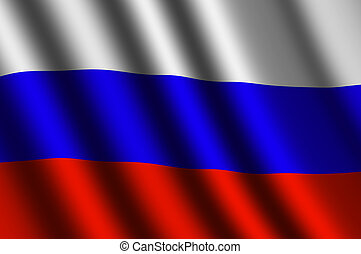 The Russian flag flying in the wind