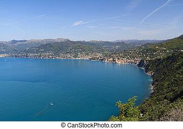 Golfo Paradiso, Liguria, italy - aerial view of Paradiso...