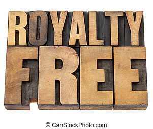 royalty free in wood type - royalty free - isolated text in...