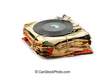Vinyl plates - Pile of old vinyl plates isolated on white...