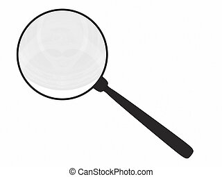 Magnifying glass isolated on white. High resolution 3D...