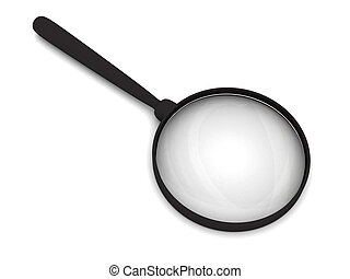 Magnifying glass with soft shadows on white. High resolution...