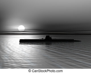 Submarine on a background of a sunset on the sea - High...