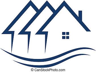 verdadero, propiedad, Casas, logotipo, vector