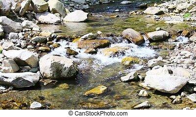 Mountain stream cascades