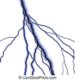 Lightning - Bolts of lightning isolated over a white...