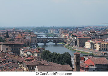 View of Florence, the Arno river and Ponte vecchio It is one...