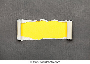 Torn paper with yellow space for your message