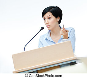 Woman orator at the board - Female speech maker at the...