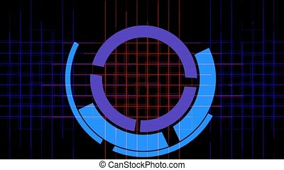 rotation computer circles interface cross lines mesh,tech...