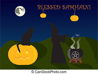 Samhain greeting card - Greeting card to Halloween, or...