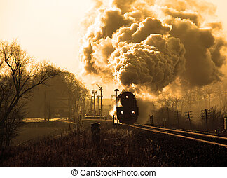 Old retro steam train - Vintage steam train starting from...