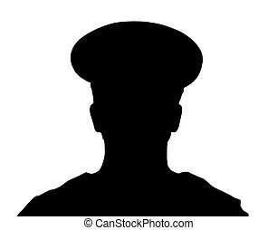 Policeman - Black silhouettes of the policeman on white...