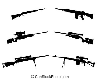 Weapon - Black silhouettes of the weapon on white background