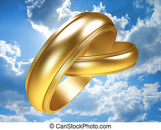 Gold rings - Two linked gold rings. Including clipping path.
