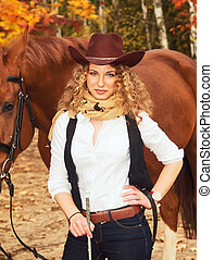 feliz, Vaquera, ella, rojo, caballo