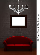 Red couch with empty frame and luxury chandelier in...