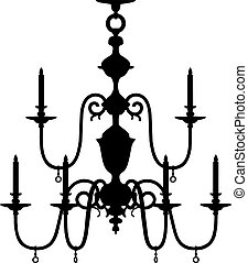 Silhouette of modern chandelier