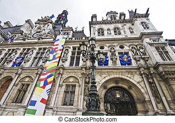 Hotel de Ville building, Paris, France - View of the...