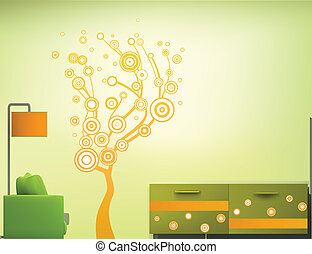 Interior room in the green-orange style. Vector