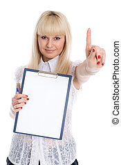 Beautiful young girl with a worksheet