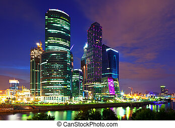 Moscow business centre in night - Moscow business centre in...