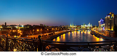 Moskva River in night Russia - Kind to the Moscow Kremlin...
