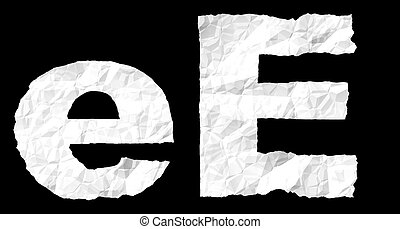 Crumple paper alphabet - E - Alphabet on crumple white paper
