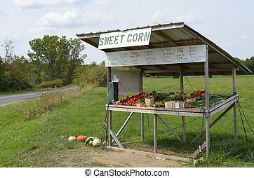 Rural Produce Stand - Produce stand along a rural Michigan...