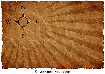 Wind rose on an ancient map - Empty map on a crumple sheet...
