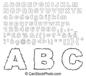 Burnt parchment alphabet - Complete alphabet where letters...