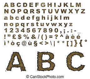 Burnt parchment alphabet - Complete alphabet where letters...