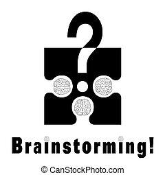 Brainstorming metaphor - Conceptual brainstorming symbol...